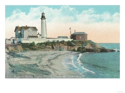 Exterior View of the Pigeon Point Lighthouse - Pigeon Point, CA-Lantern Press-Framed Art Print