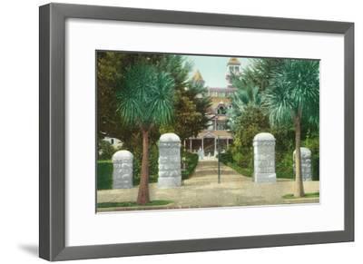 Exterior View of the Winchester Home - San Jose, CA-Lantern Press-Framed Art Print