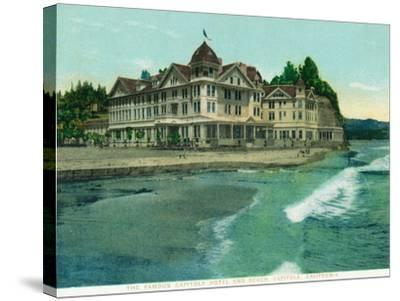 Exterior View of the Famous Capitola Hotel - Capitola, CA-Lantern Press-Stretched Canvas Print