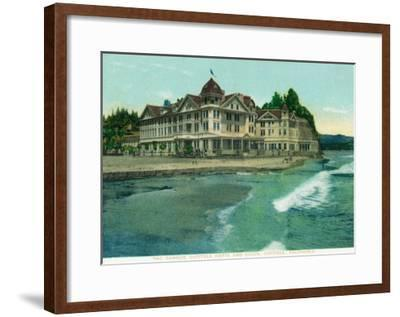 Exterior View of the Famous Capitola Hotel - Capitola, CA-Lantern Press-Framed Art Print