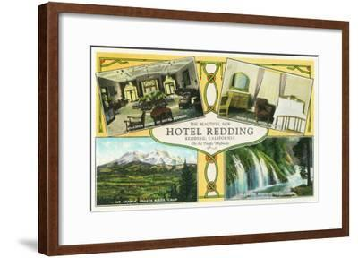 Hotel Redding Interior Views with Scenic Sites - Redding, CA-Lantern Press-Framed Art Print