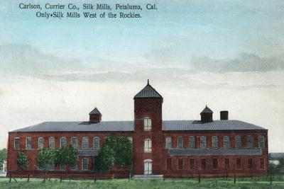 Exterior View of the Currier Co Silk Mills - Petaluma, CA-Lantern Press-Stretched Canvas Print