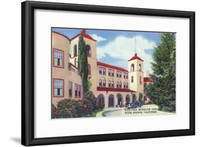 Exterior View of the Sonoma Mission Inn - Boyes Hot Springs, CA-Lantern Press-Framed Art Print
