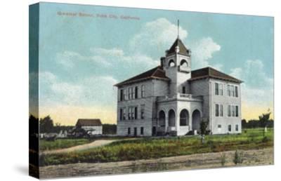 Exterior View of the Grammar School - Yuba City, CA-Lantern Press-Stretched Canvas Print
