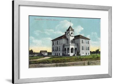 Exterior View of the Grammar School - Yuba City, CA-Lantern Press-Framed Art Print