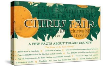 Fifth Annual Tulare County Citrus Fair Promotion - Tulare County, CA-Lantern Press-Stretched Canvas Print