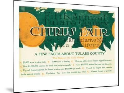 Fifth Annual Tulare County Citrus Fair Promotion - Tulare County, CA-Lantern Press-Mounted Art Print