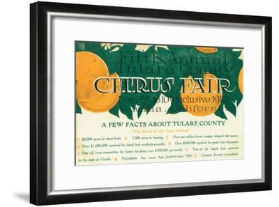 Fifth Annual Tulare County Citrus Fair Promotion - Tulare County, CA-Lantern Press-Framed Art Print