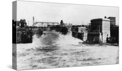 Exterior View of Washington Water Power Plant - Spokane, WA-Lantern Press-Stretched Canvas Print