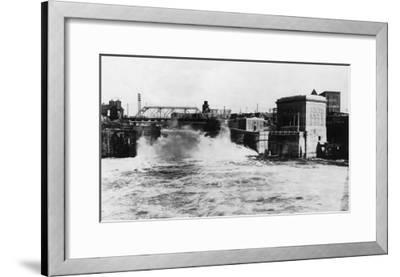 Exterior View of Washington Water Power Plant - Spokane, WA-Lantern Press-Framed Art Print