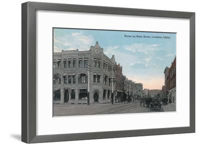 Main Street Scene with Horse Carriages and Model-T - Lewiston, ID-Lantern Press-Framed Art Print