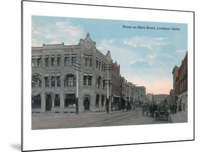 Main Street Scene with Horse Carriages and Model-T - Lewiston, ID-Lantern Press-Mounted Art Print