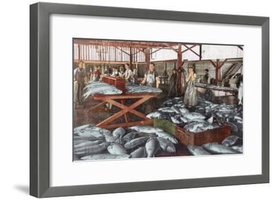 Interior View of a Salmon Cannery - Bellingham, WA-Lantern Press-Framed Art Print
