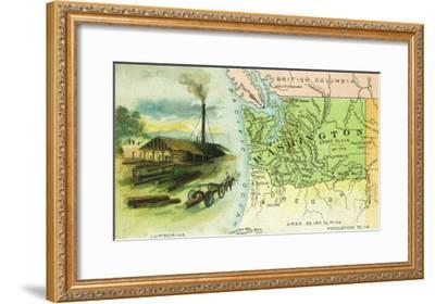 Map View of the State with a Lumbering Scene - Washington-Lantern Press-Framed Art Print