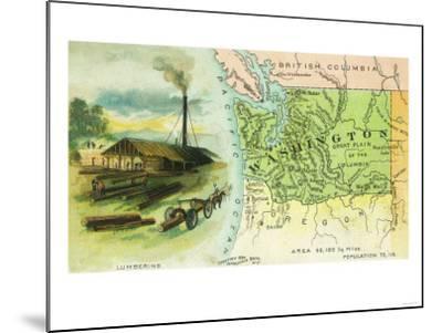 Map View of the State with a Lumbering Scene - Washington-Lantern Press-Mounted Art Print