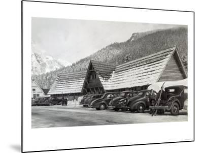 Exterior View of the Hwy Dept Recreation Center - Snoqualmie Pass, WA-Lantern Press-Mounted Art Print
