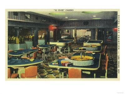 Interior View of the 21 Club Casino, Hotel Last Frontier - Las Vegas, NV-Lantern Press-Framed Art Print