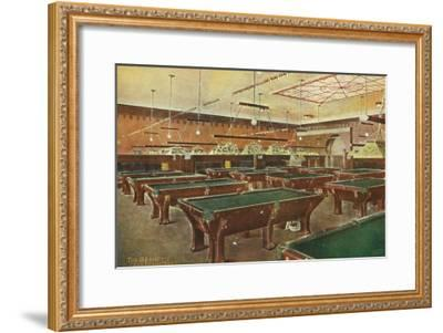 Interior View of the Graney Pool Hall - San Francisco, CA-Lantern Press-Framed Art Print