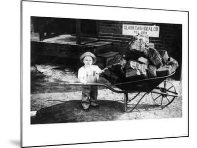 Little Boy Pushing Wheelbarrow of Coal - Elkhart, IN-Lantern Press-Mounted Art Print