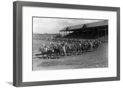 Cowboy Band in the Grand Round-Up Parade - Pendleton, OR-Lantern Press-Framed Art Print