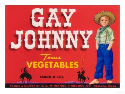 Gay Johnny Vegetable Label - Weslaco, TX-Lantern Press-Stretched Canvas Print