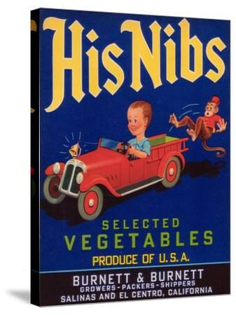 His Nibs Vegetable Label - Salinas, CA-Lantern Press-Stretched Canvas Print