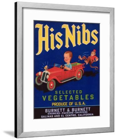 His Nibs Vegetable Label - Salinas, CA-Lantern Press-Framed Art Print
