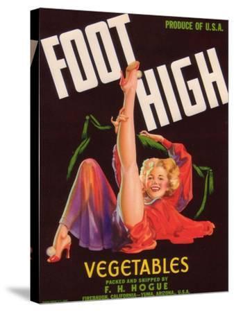 Foot High Vegetable Label - Firebaugh, CA-Lantern Press-Stretched Canvas Print