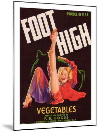 Foot High Vegetable Label - Firebaugh, CA-Lantern Press-Mounted Art Print