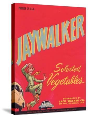 Jaywalker Vegetable Label - Los Angeles, CA-Lantern Press-Stretched Canvas Print