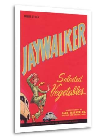 Jaywalker Vegetable Label - Los Angeles, CA-Lantern Press-Metal Print