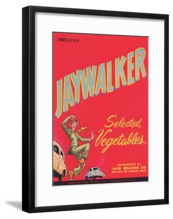 Jaywalker Vegetable Label - Los Angeles, CA-Lantern Press-Framed Art Print