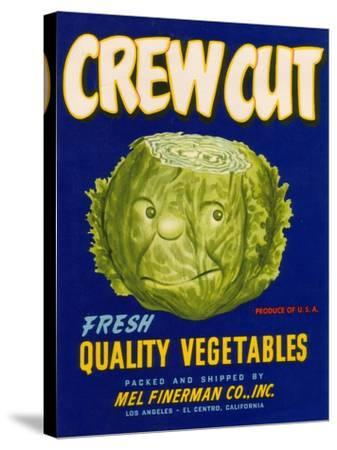 Crew Cut Lettuce Label - El Centro, CA-Lantern Press-Stretched Canvas Print