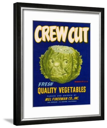 Crew Cut Lettuce Label - El Centro, CA-Lantern Press-Framed Art Print