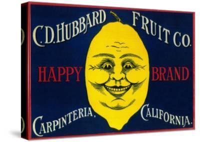 Happy Lemon Label - Carpinteria, CA-Lantern Press-Stretched Canvas Print