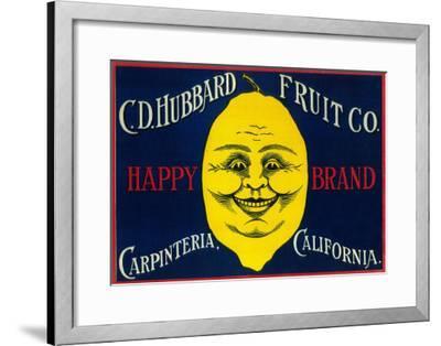 Happy Lemon Label - Carpinteria, CA-Lantern Press-Framed Art Print