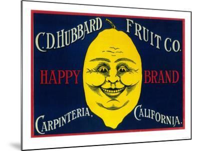 Happy Lemon Label - Carpinteria, CA-Lantern Press-Mounted Art Print