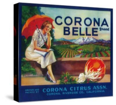 Corona Belle Orange Label - Corona, CA-Lantern Press-Stretched Canvas Print