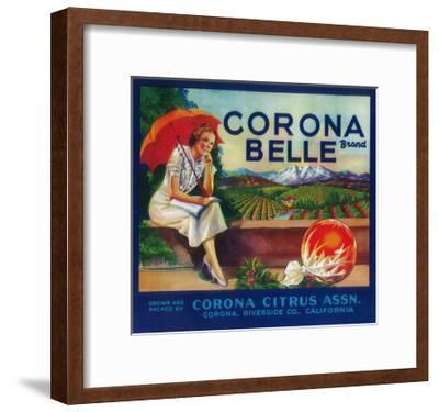 Corona Belle Orange Label - Corona, CA-Lantern Press-Framed Art Print