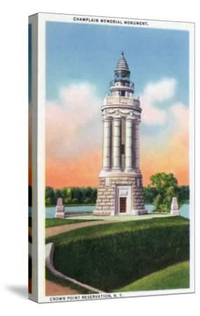 Crown Point Reservation, New York - View of the Champlain Memorial Monument-Lantern Press-Stretched Canvas Print