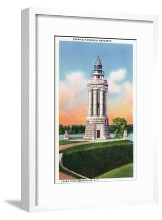 Crown Point Reservation, New York - View of the Champlain Memorial Monument-Lantern Press-Framed Art Print