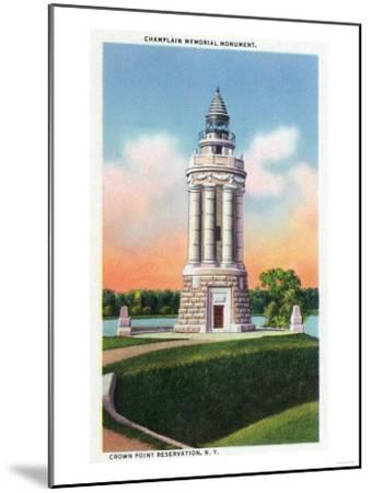 Crown Point Reservation, New York - View of the Champlain Memorial Monument-Lantern Press-Mounted Art Print