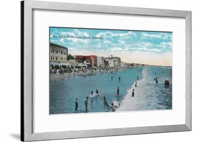 Enjoying Waves at Ocean Beach - Long Beach, CA-Lantern Press-Framed Art Print