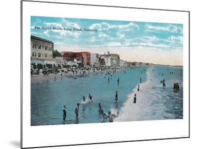 Enjoying Waves at Ocean Beach - Long Beach, CA-Lantern Press-Mounted Art Print