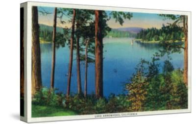 Lake Arrowhead View - Lake Arrowhead, CA-Lantern Press-Stretched Canvas Print