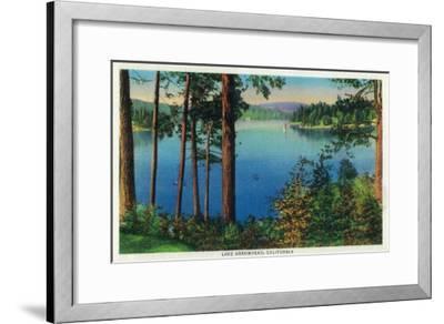 Lake Arrowhead View - Lake Arrowhead, CA-Lantern Press-Framed Art Print