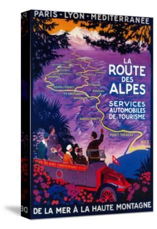 La Route Des Alpes Vintage Poster - Europe-Lantern Press-Stretched Canvas Print