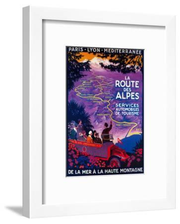 La Route Des Alpes Vintage Poster - Europe-Lantern Press-Framed Art Print