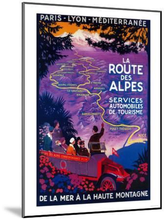 La Route Des Alpes Vintage Poster - Europe-Lantern Press-Mounted Art Print