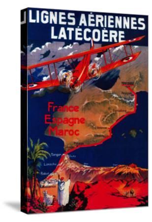Lignes Aeriennes Latecoere Vintage Poster - Europe-Lantern Press-Stretched Canvas Print